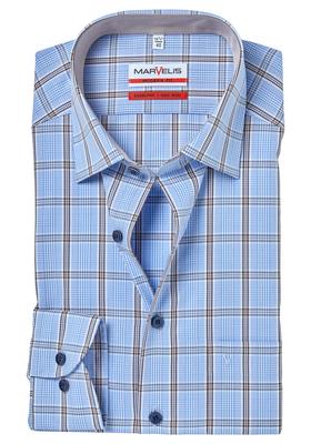 MARVELIS Modern Fit overhemd, lichtblauw-wit-bruin geruit (contrast)