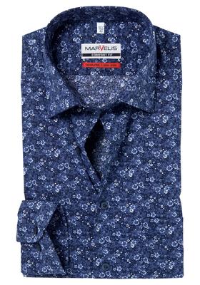 MARVELIS Comfort Fit, overhemd, blauw bloemetjes dessin