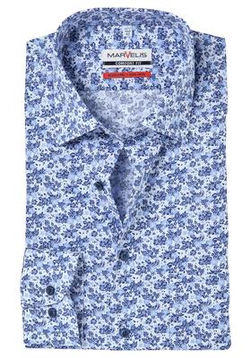 MARVELIS Comfort Fit, overhemd, blauw-wit bloemetjes dessin