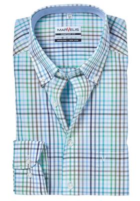 MARVELIS Comfort Fit, overhemd, groen-wit-blauw geruit (contrast)