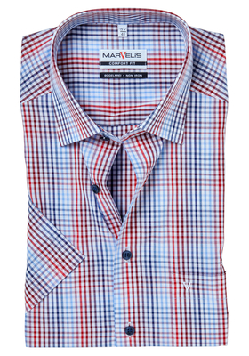 MARVELIS Comfort Fit, overhemd korte mouw, rood-wit-blauw geruit