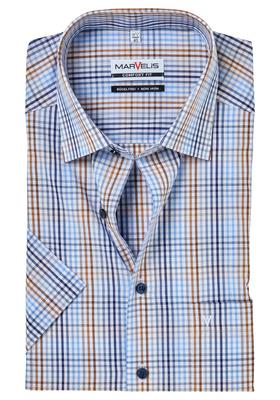 MARVELIS Comfort Fit, overhemd korte mouw, bruin-wit-blauw geruit