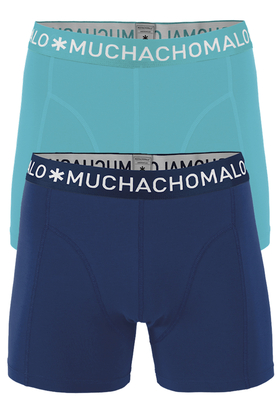 Muchachomalo boxershorts, 2-pack, solid aqua en blauw