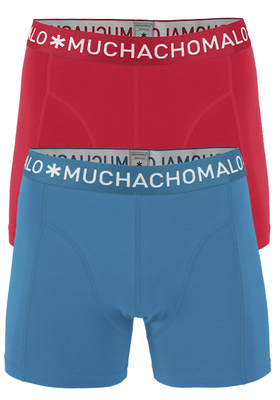 Muchachomalo boxershorts, 2-pack, solid rood en blauw