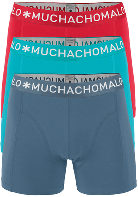 Muchachomalo boxershorts, 3-pack, solid rood, lichtblauw, antraciet