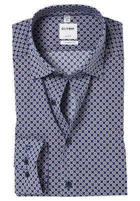 OLYMP Comfort Fit overhemd, blauw-bruin dessin