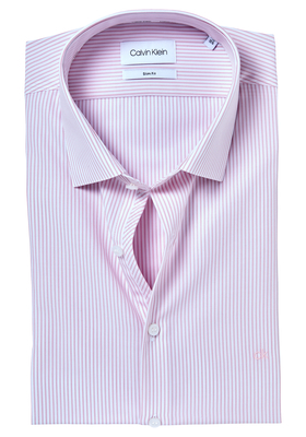 Calvin Klein Slim Fit overhemd (Bari), lichtroze met wit gestreept