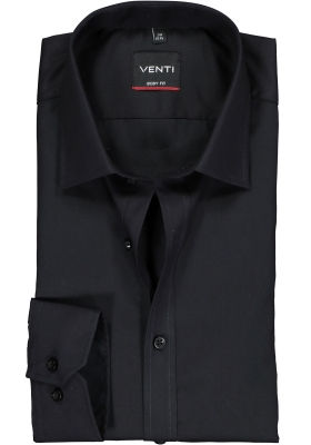 VENTI body fit overhemd, zwart