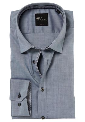 Venti Body Fit overhemd, grijs (zwart contrast)