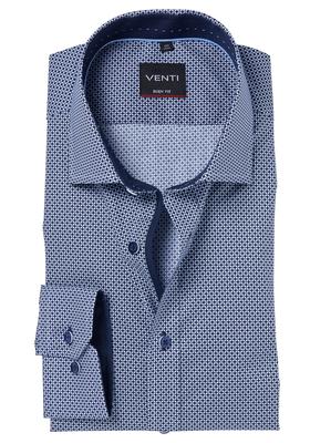 Venti Body Fit overhemd, blauw dessin (contrast)