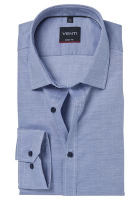 Venti Body Fit overhemd, donkerblauw structuur