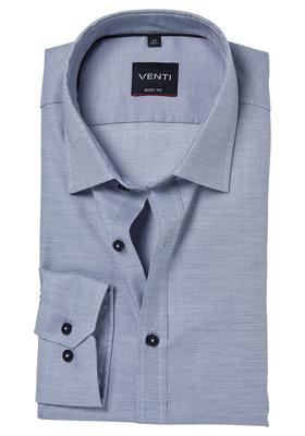 Venti Body Fit overhemd, grijs structuur