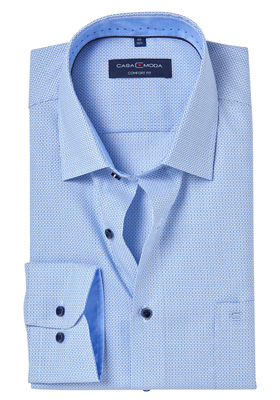 Casa Moda Comfort Fit overhemd, blauw ingeweven dessin (contrast)