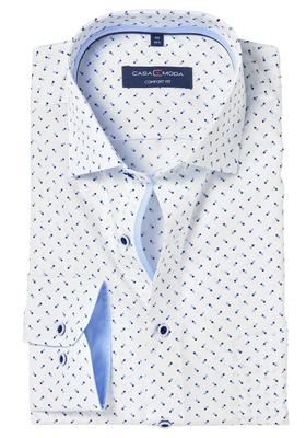 Casa Moda Comfort Fit overhemd, lichtblauw met wit dessin (contrast)