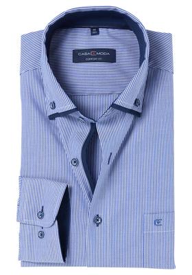 Casa Moda Comfort Fit overhemd, blauw met wit gestreept (contrast)