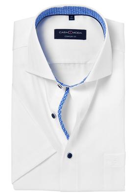 Casa Moda Comfort Fit overhemd, korte mouw, wit visgraat structuur (contrast)