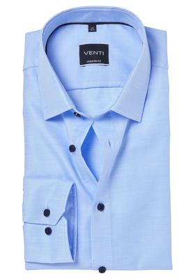 Venti Modern Fit overhemd, lichtblauw structuur