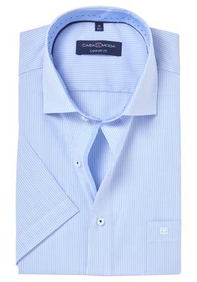 Casa Moda Comfort Fit overhemd, korte mouw, lichtblauw gestreept (contrast)