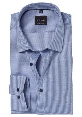 Venti Modern Fit overhemd, donkerblauw structuur