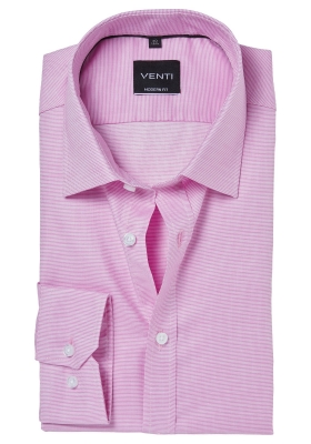 Venti Modern Fit overhemd, roze structuur