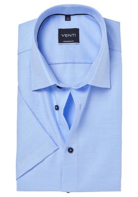 Venti Modern Fit overhemd korte mouw, lichtblauw structuur