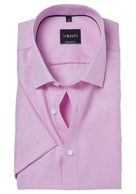 Venti Modern Fit overhemd korte mouw, roze structuur