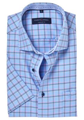 Casa Moda Comfort Fit overhemd, korte mouw, blauw-wit-roze geruit (contrast)