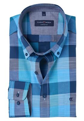 Casa Moda Comfort Fit overhemd, blauw geruit (contrast)