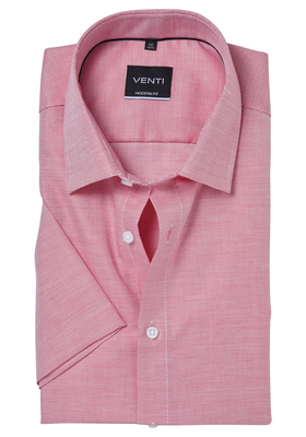 Venti Modern Fit overhemd korte mouw, rood structuur