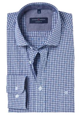Casa Moda Comfort Fit overhemd, blauw-wit geruit met dessin(contrast)