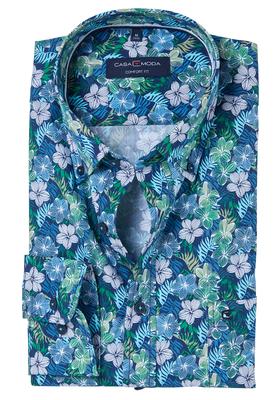 Gebloemd Overhemd.Casa Moda Comfort Fit Overhemd Blauw Groen Gebloemd Altijd Gratis