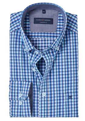 Casa Moda Comfort Fit overhemd, blauw-groen geruit (contrast)