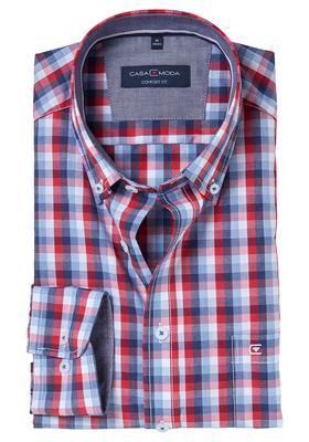 Casa Moda Comfort Fit overhemd, blauw-rood geruit (contrast)
