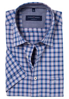 Casa Moda Sport Comfort Fit overhemd, korte mouw, blauw-wit-rood geruit (contrast)