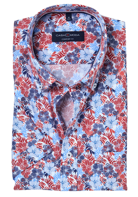 Casa Moda Sport Comfort Fit overhemd, korte mouw, blauw-wit-rood dessin (contrast)
