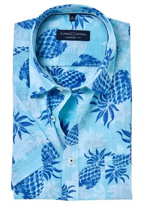 Casa Moda Sport Comfort Fit overhemd, korte mouw, ananas dessin met ingeweven ruit