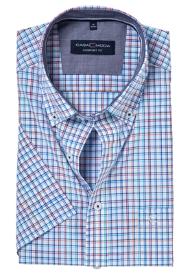 Casa Moda Sport Comfort Fit overhemd, korte mouw, fris geruit (contrast)