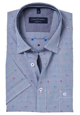 Casa Moda Sport Comfort Fit overhemd, korte mouw, blauw-wit-gestreept met dessin (contrast)