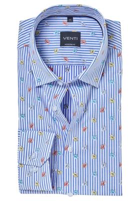 Venti Modern fit overhemd, blauw-wit gestreept met bloemetjes