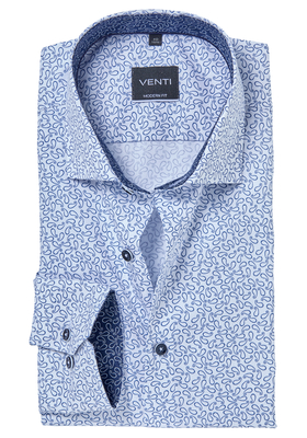Venti Modern fit overhemd, blauw-wit paisley dessin (contrast)