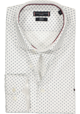 Tommy Hilfiger stretch Classic Slim Fit overhemd, wit met blauw dessin