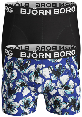 Bjorn Borg Cotton Stretch shorts, 2-pack, LA Hibiscus surf the web