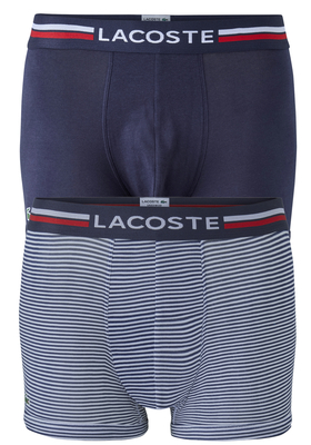 Lacoste Trunks kort model (2-pack), blauw en gestreept