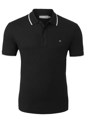 Calvin Klein refined pique logo Polo, zwart