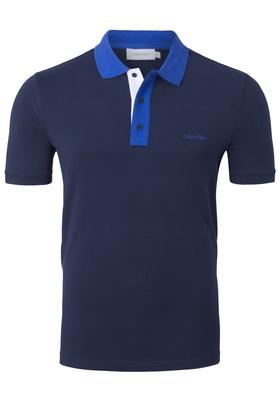 Calvin Klein contrast collar pique, donkerblauw