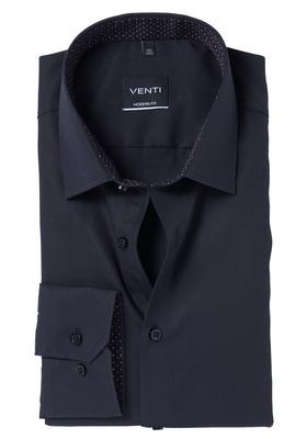 Venti Modern Fit overhemd, zwart contrast