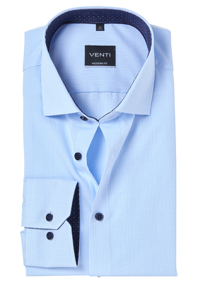 Venti Modern Fit overhemd, blauw geruit (contrast)