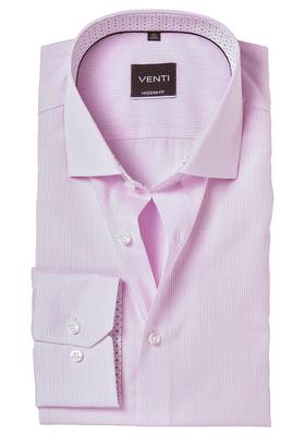 Venti Modern Fit overhemd, roze geruit (contrast)
