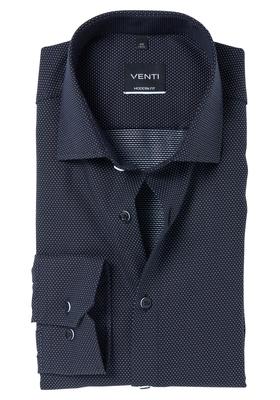 Venti Modern Fit overhemd, zwart dessin