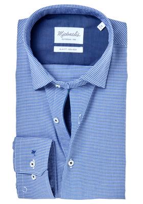 Michaelis Slim Fit overhemd, blauw met wit heel fijn geruit